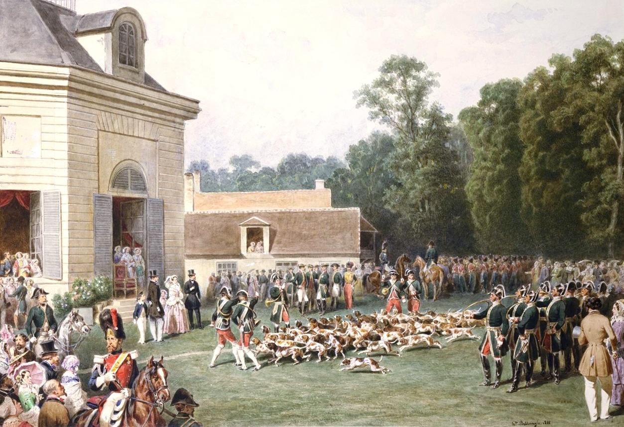 Visite de la Reine Victoria d'Angleterre au Pavillon de la Muette, scène de chasse à courre
