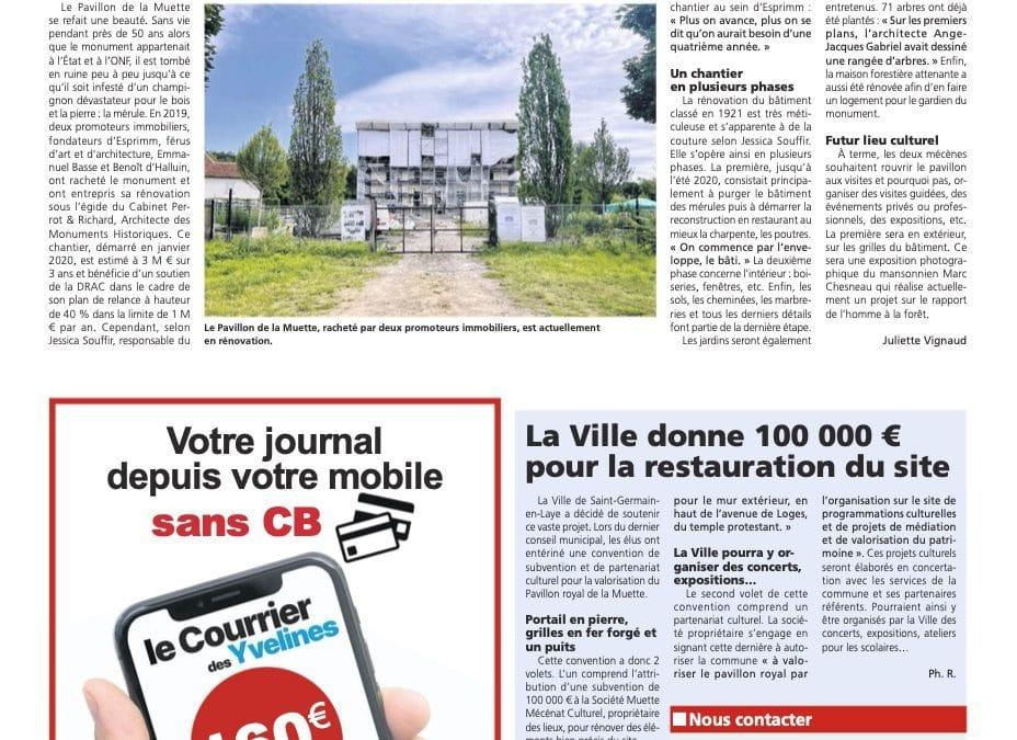 Le courrier des Yvelines, août 2021 – Le Pavillon de la Muette va devenir un lieu culturel